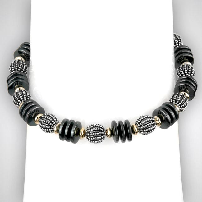 323338-Hematite and Sterling Silver Bracelet