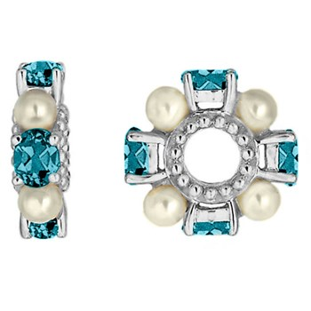 332255-Storywheels Blue Zircon & Pearl 14K White Gold Wheel ONLY 5 AVAILABLE!