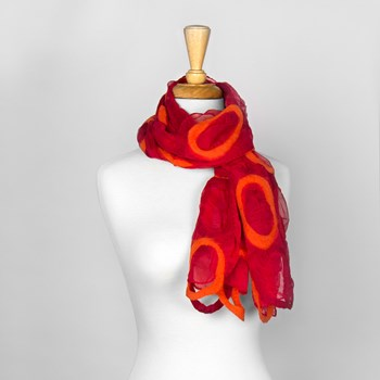 Red & Orange Circles Nuno Felted Scarf