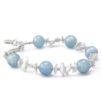 Aquamarine with Keshi Pearl Bracelet
