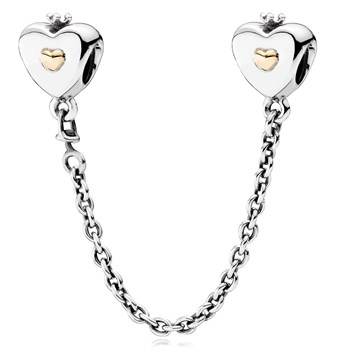 PANDORA Heart & Crown with 14K Safety Chain