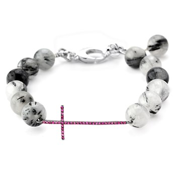 Lollies Black Rutilated Quartz Cross Bracelet 345886