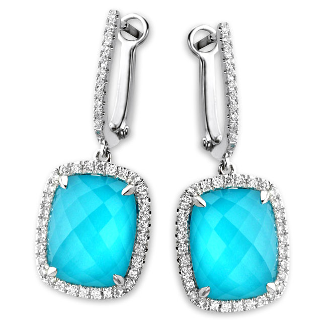339577-White Topaz Over Turquoise Earrings