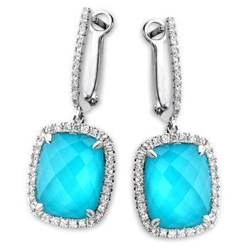 White Topaz Turquoise Earrings-339577