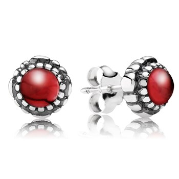 PANDORA Garnet January Birthday Bloom Stud Earrings-344326