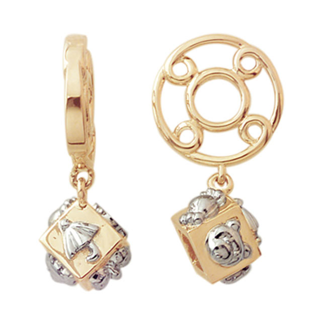 265768-Storywheels Baby Block Dangle 14K Gold Wheel ONLY 2 AVAILABLE!