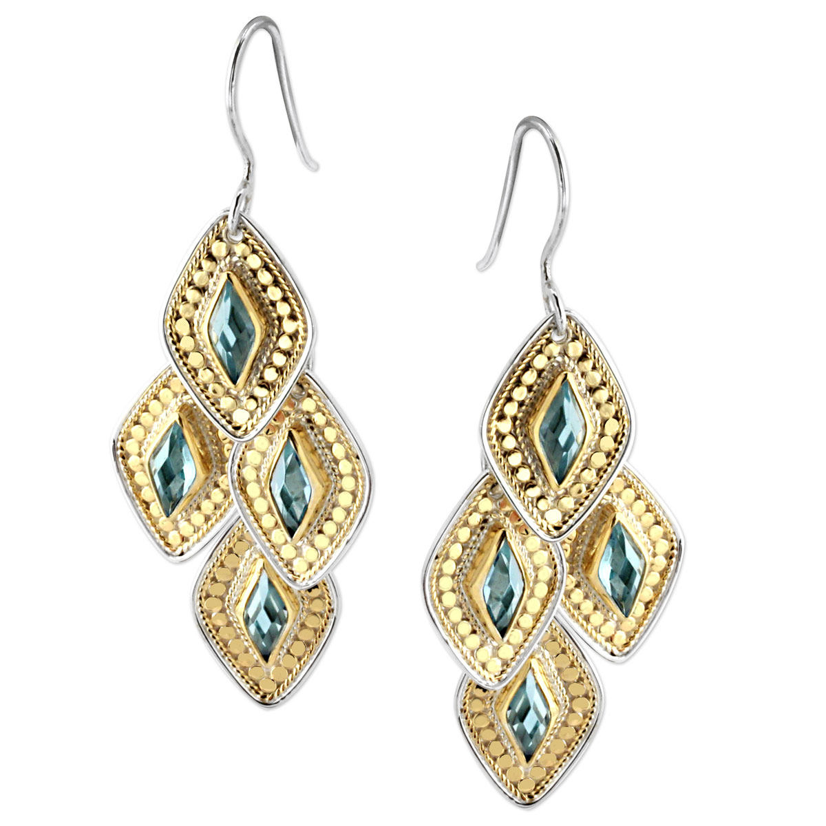 345298-Anna Beck Wire Rimmed Blue Quartz Chandelier Earrings