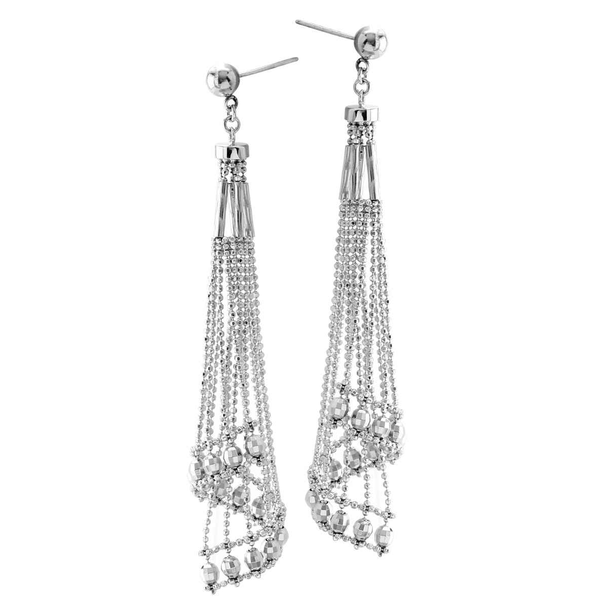 341478-Silver Lace Cascading Chandelier Earrings