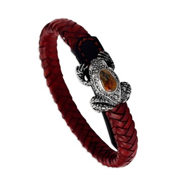Sterling Silver Frog Clasp with Red Leather Bracelet 338794