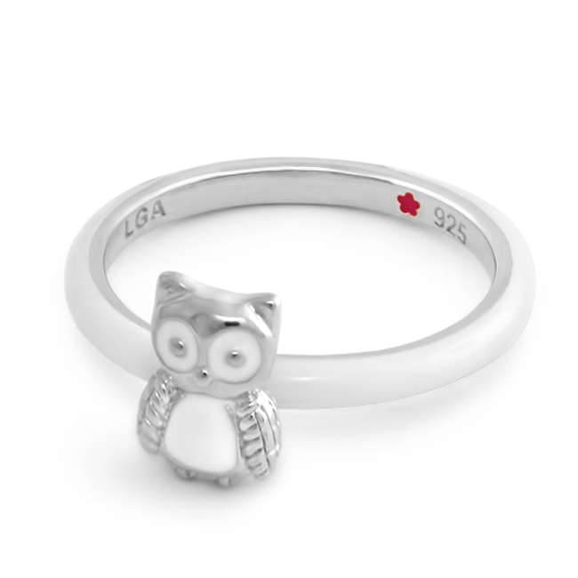 342606-White 'Layers of Love' Owl Ring