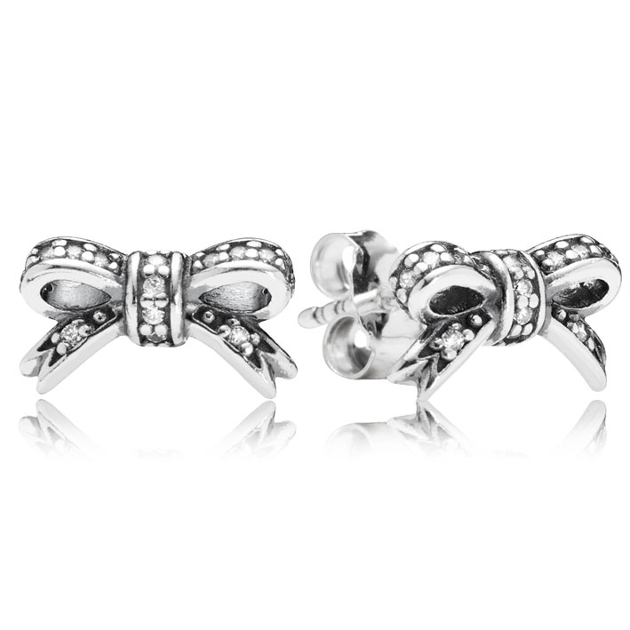 347049-PANDORA Sparkling Bow with Clear CZ Stud Earrings