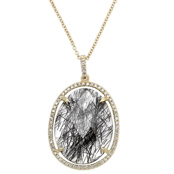 Tourmalated Quartz and Diamond Necklace-342303