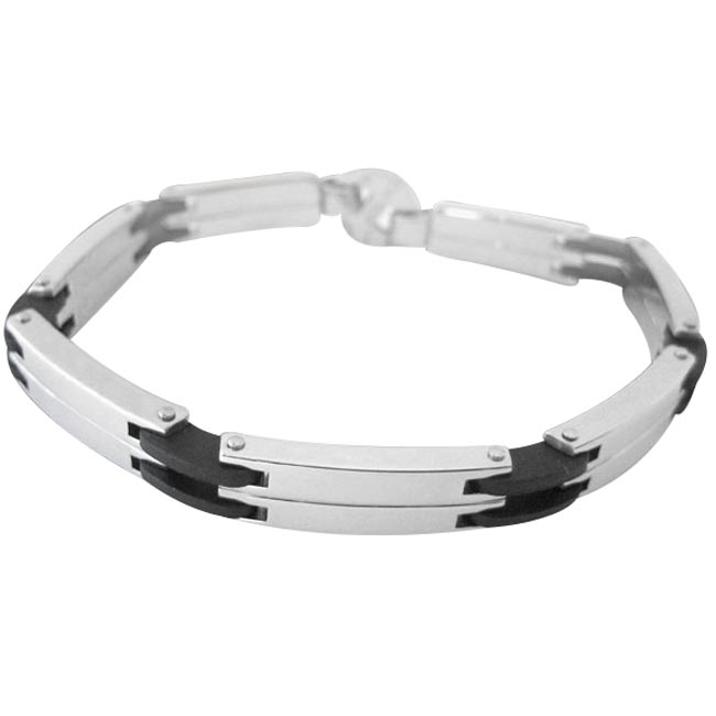299619-Steel and Rubber Hinged Bracelet