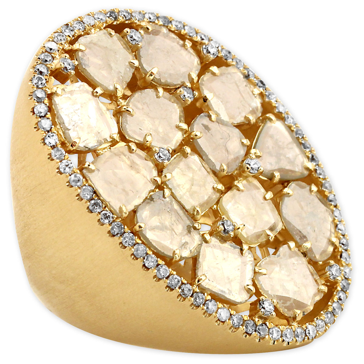 342294-Gold Raw Diamond Cluster Ring