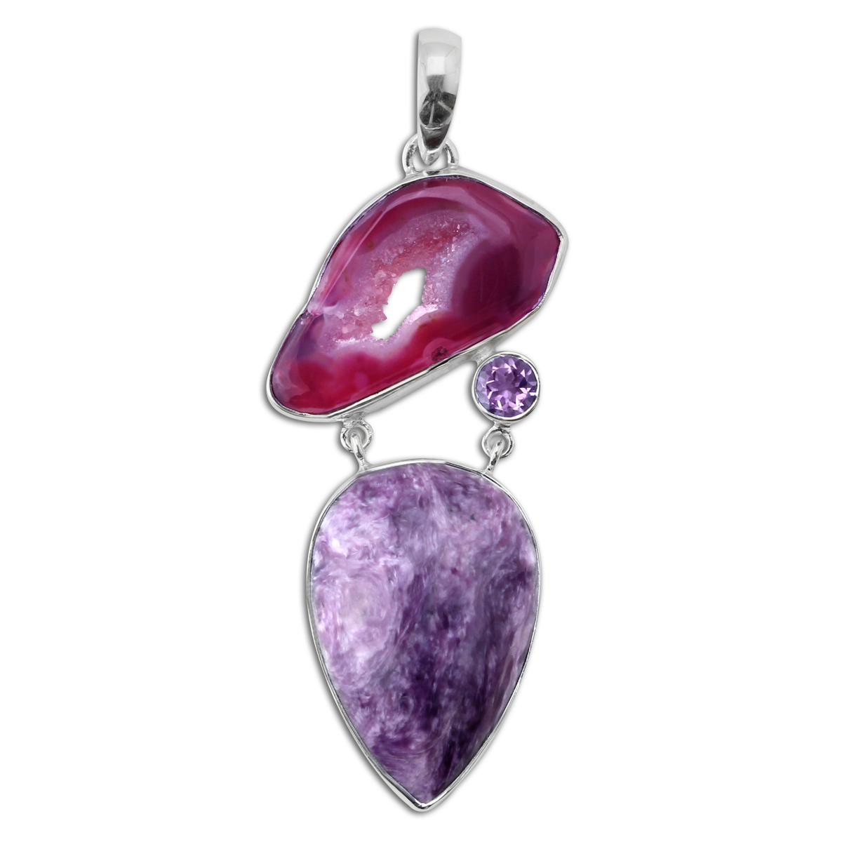 347459-Amethyst and Charoite Pendant