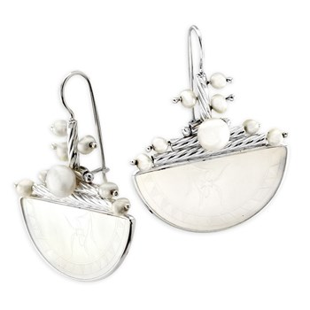 Half Circle Pearl Earrings-341787