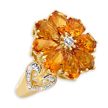274913-Citrine & Diamond Ring