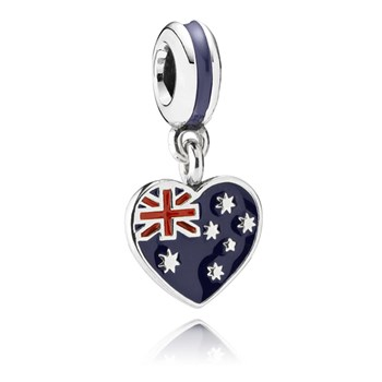 PANDORA Australian Heart Flag with Enamel Dangle-348029