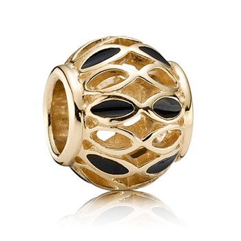 341603-PANDORA 14K Royal Victorian with Black Enamel Charm