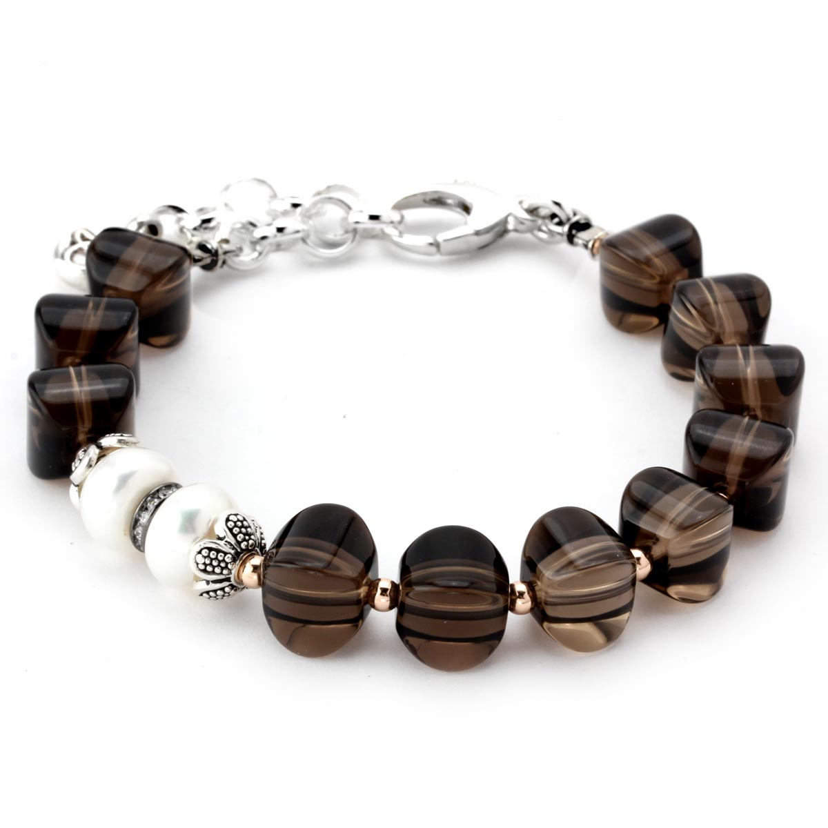 Smokey Quartz and Pearl Bracelet-343152