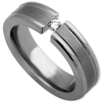 Edward Mirell Men's Tension Band Titanium & Diamond Ring