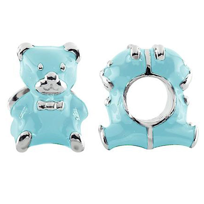 333729-Storywheels Blue Enamel Teddy Bear Sterling Silver Charm ONLY 1 AVAILABLE!