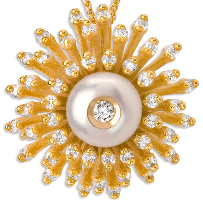 335793-Galatea Diamond in a Pearl Sunburst Necklace