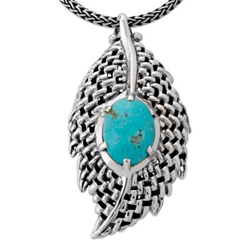 Turquoise Leaf Necklace-333031