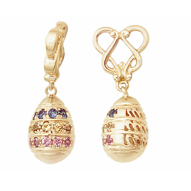265966-Storywheels Pastel Sapphires Easter Egg Dangle 14K Gold Wheel ONLY 4 AVAILABLE!