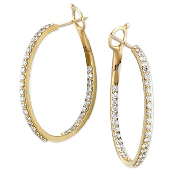Diamond Inside Out Hoop Earrings-160-257