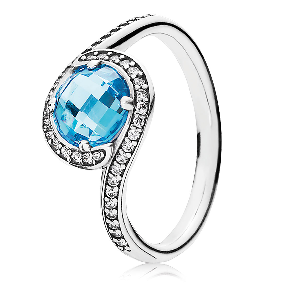 PANDORA Radiant Embellishment with Sky-Blue Crystal & Clear CZ Ring