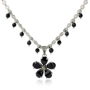 Onyx Flower Necklace 235-715