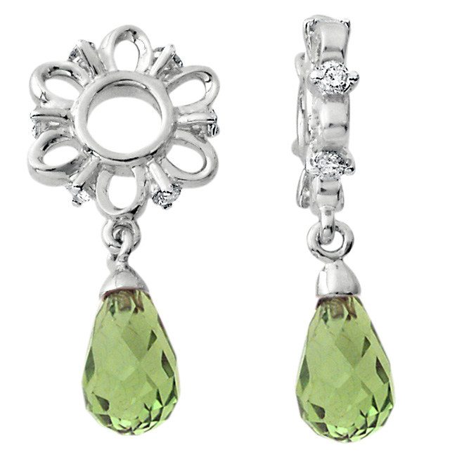 335663-Storywheels Peridot Briolette Dangle with Diamond Sterling Silver Wheel