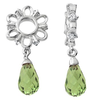 Storywheels Peridot Briolette Dangle with Diamond Sterling Silver Wheel-335663