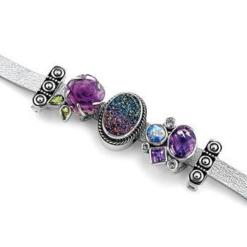 342718-Lori Bonn Her Royal Shine-ness Leather Slide Charm Bracelet ONLY 1 LEFT!