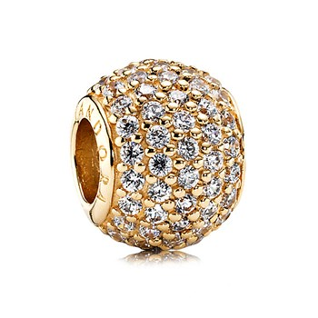 PANDORA 14K Pavé Lights with Clear CZ Charm-344366