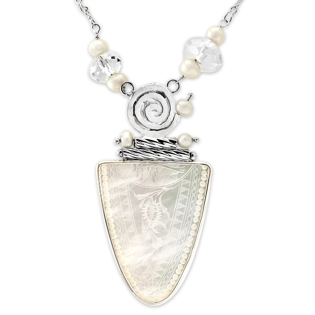 341789-Donna Chambers Teardrop Gambling Chip and Pearl Necklace