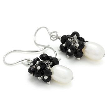 210-676-Pearl & Black Onyx Earrings