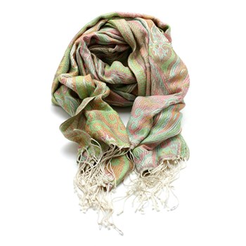 Silk Scarf in Pinks and Green 244220