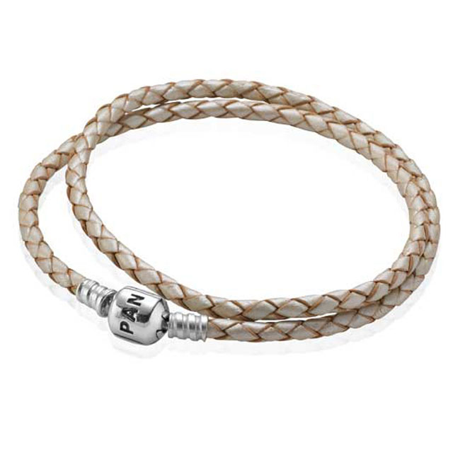 -PANDORA Champagne Double Braided Leather Bracelet