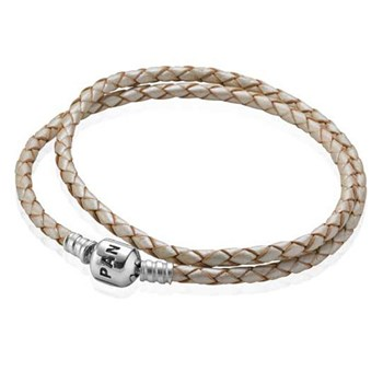 590705CPL-PANDORA Champagne Double Braided Leather Bracelet
