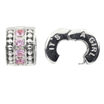 Storywheels It's A Girl Pink Sapphire Sterling Silver Clip ONLY 4 AVAILABLE!-336807