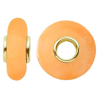 Storywheels Dyed Peach Agate 14K Gold Wheel-295680