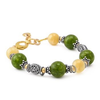 Beautiful Green and Honey Jade Bracelet