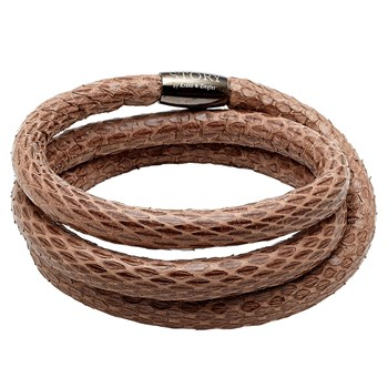 STORY by Kranz & Ziegler Triple Wrap Dark Brown Snakeskin Bracelet