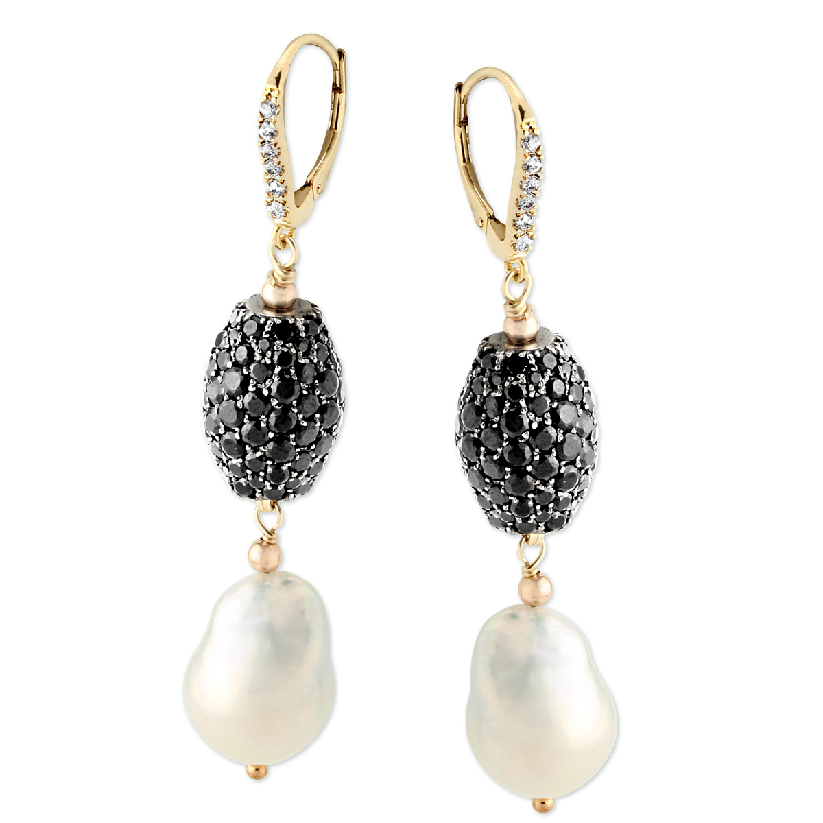 343099-Black Spinel and Baroque White Freshwater Pearl Earrings