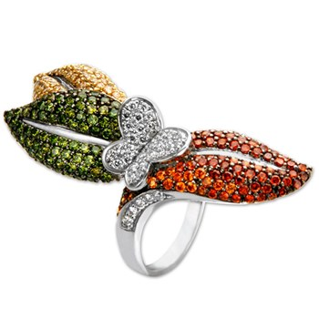 336973-3 Leaf Butterfly Bling Ring