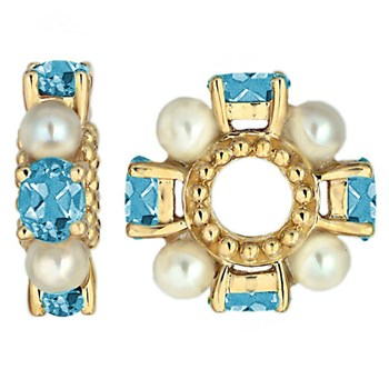 Storywheels Blue Zircon & Pearl 14K Gold Wheel-334349