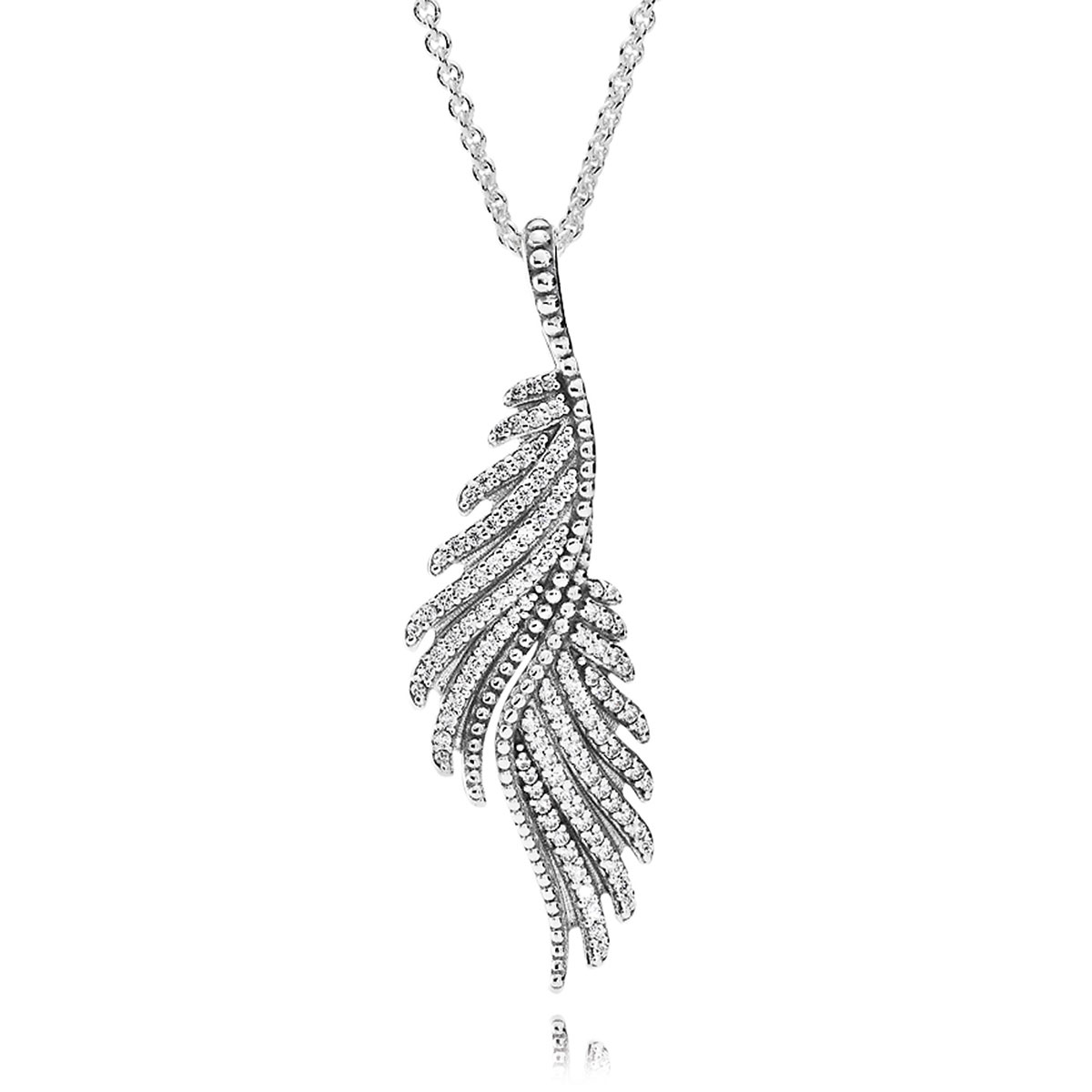801-702-PANDORA Majestic Feathers with Clear CZ Necklace