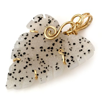 173506-Wire Wrapped Leaf-Shaped Drusy Pendant
